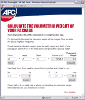 APC Volumetric Calculator