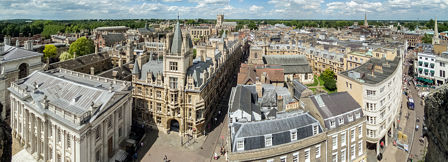 Looking North - the view includes Trinity, St John's and Gonville & Caius colleges on the left and All Saint's and Holy Trinity churches on the right.
