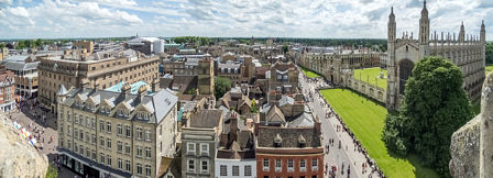 Looking South - the view includes the Guildhall, the Arts Theatre, St Edward's and St Benet's churches and King's College.