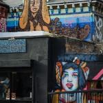 Murals on 'By The Bridge' restaurant on Kingsland Road