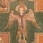 Detail from the Syon Cope showing an angel - early 14th century